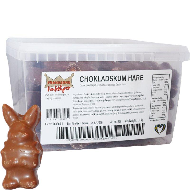 Hel Låda Godis Chokladskum Hare 1,1kg - 72% rabatt