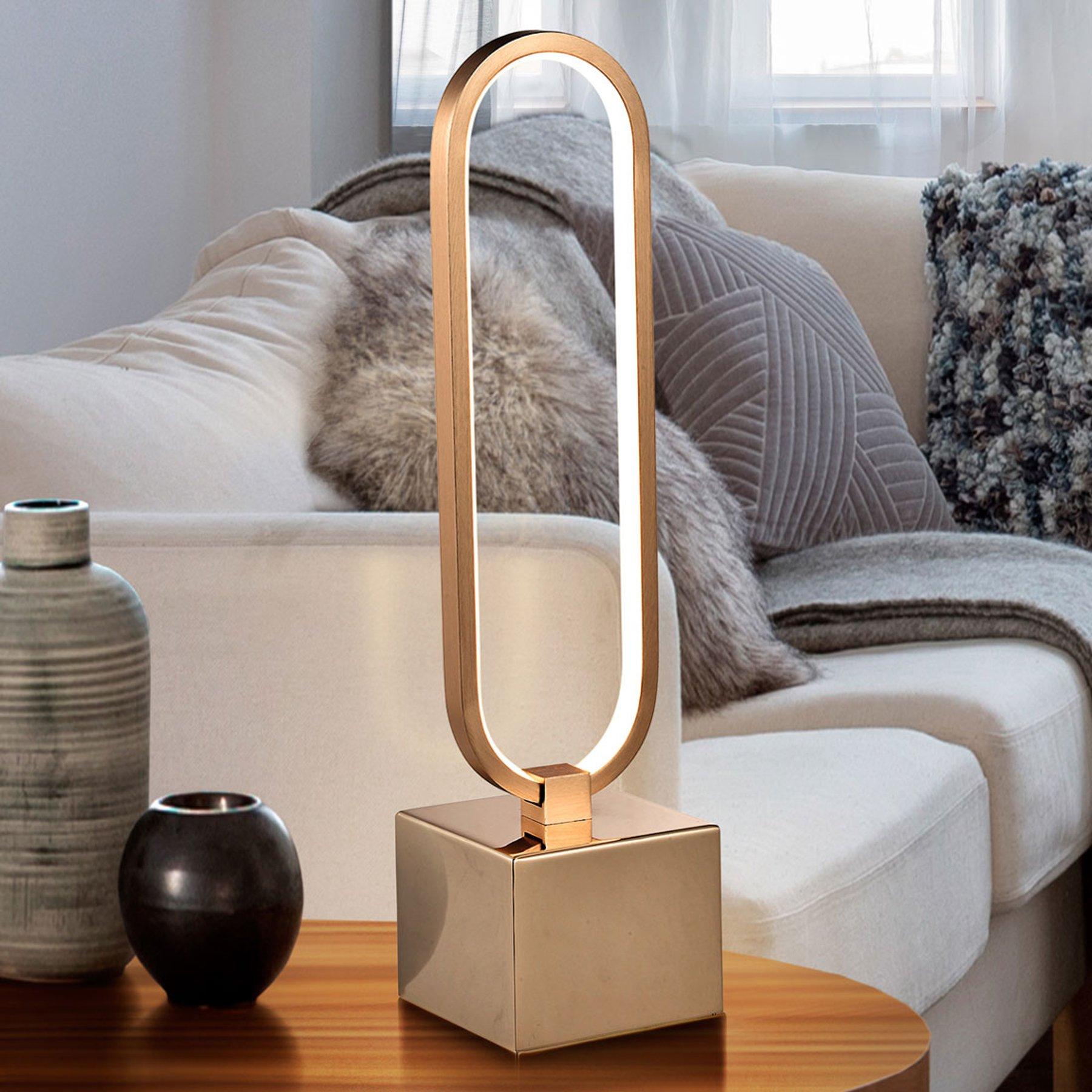 LED-bordlampe Colette, vakkert design rosegull