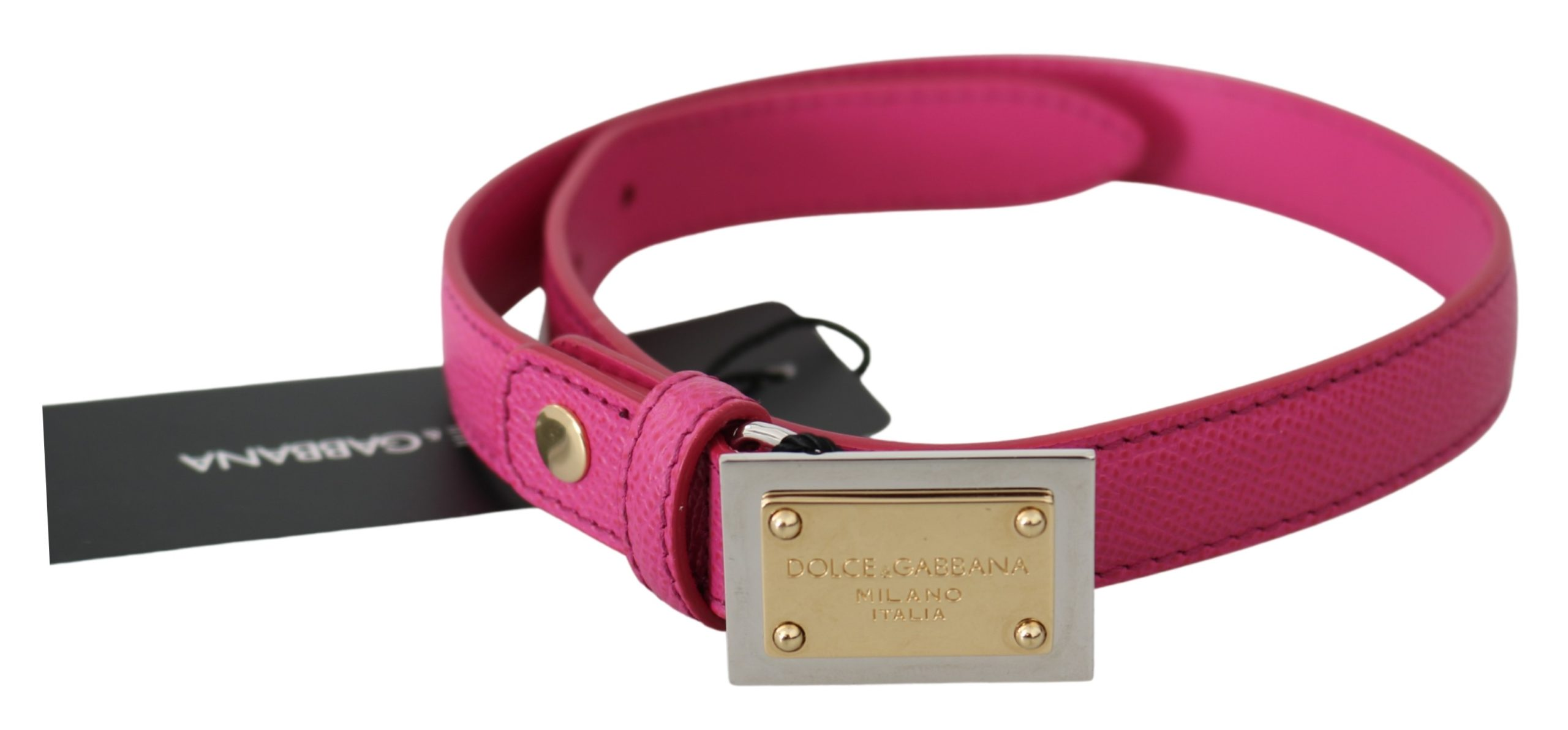 Pink Solid Leather Gold Logo Buckle Belt - 70 cm / 28 Inches