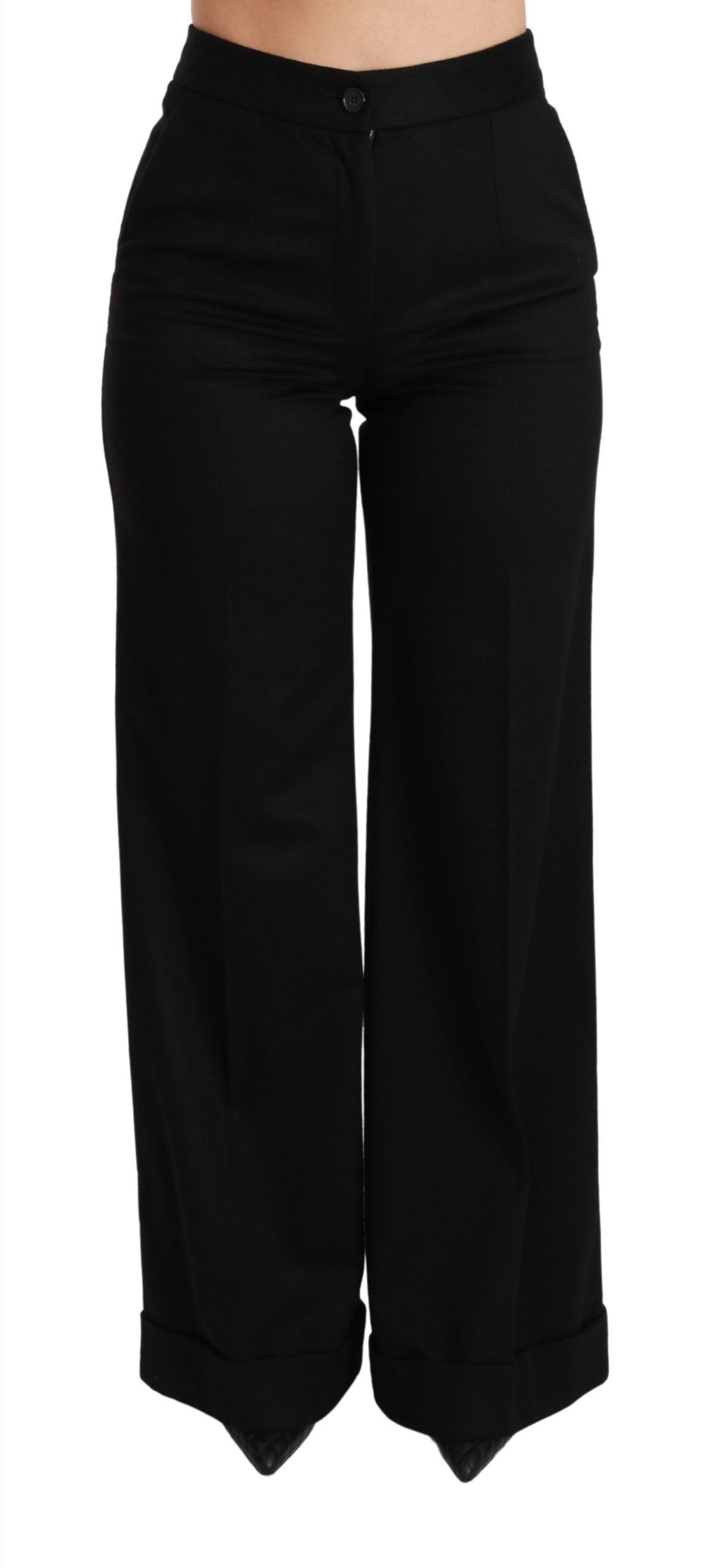 Black Wide Leg Flared Trouser Cashmere Pants - IT38|XS