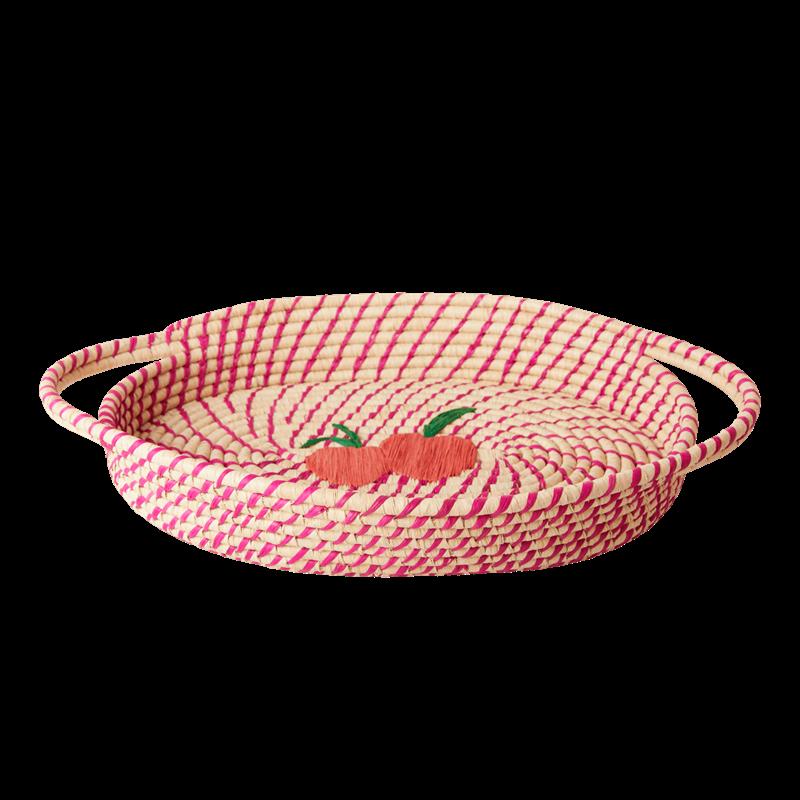 Rice - Raffia Oval Bread Basket - Fuchsia w. Peaches