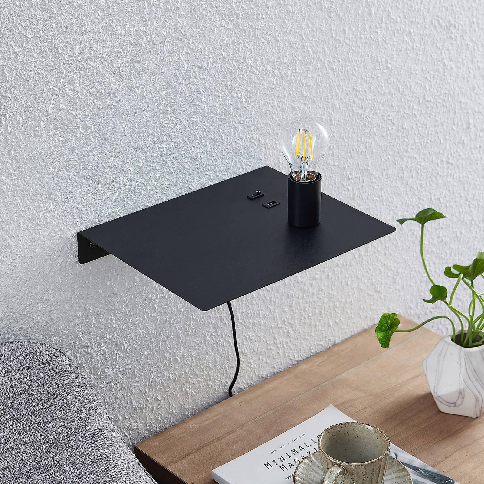 Lucande Malvina -seinälamppu, taso, USB, musta