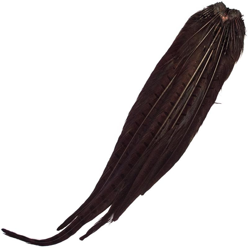 Cock Pheasant Complete Tails Dyed Claret Fasan halefjær komplett fra Veniard