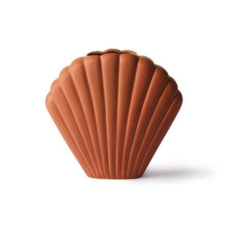 Shell Ceramic Vase Brown M