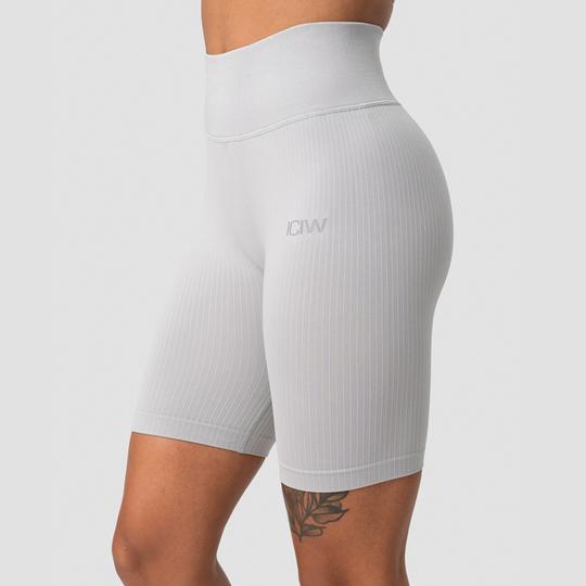 Ribbed Define Seamless Biker Shorts, Light Grey