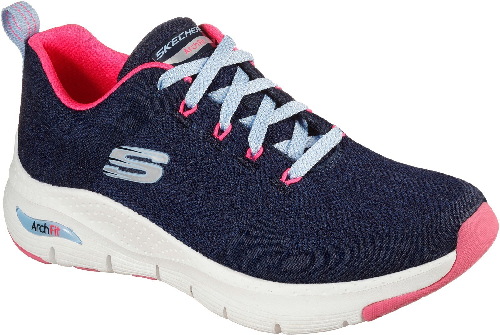 Skechers Women's Arch Fit Comfy Wave Trainer Various Colours 31042 - Navy/Hot pink 3