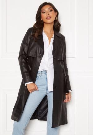 JOFAMA Jill Leather Trench Coat Black 34