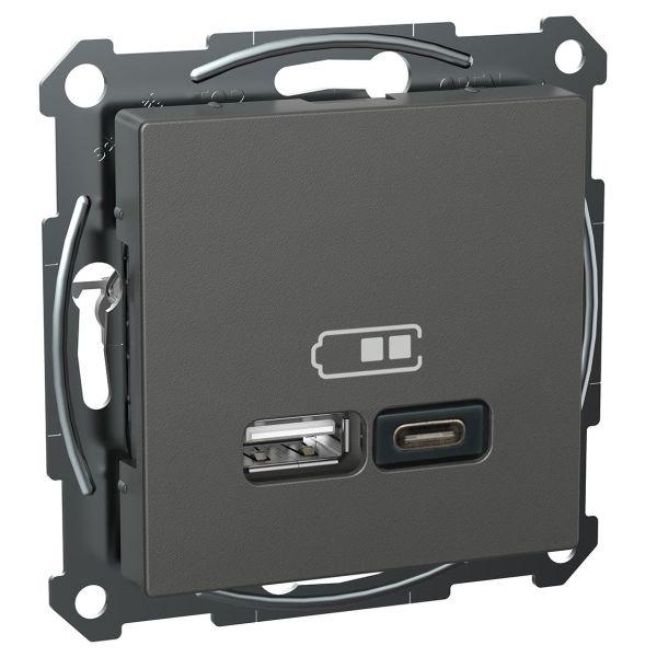Schneider Electric Exxact USB-uttak USB type A+C Antrasitt