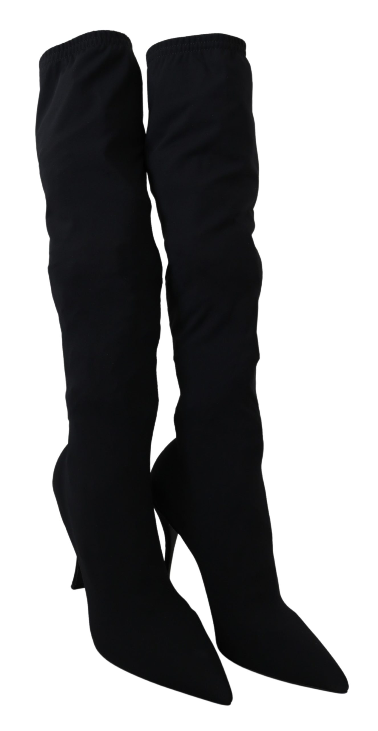 Black Jersey Stretch Knee High Boots - EU40/US9.5