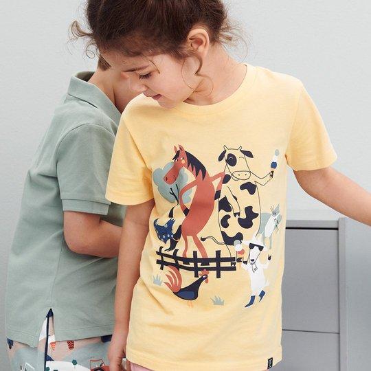 T-skjorte med trykk gul