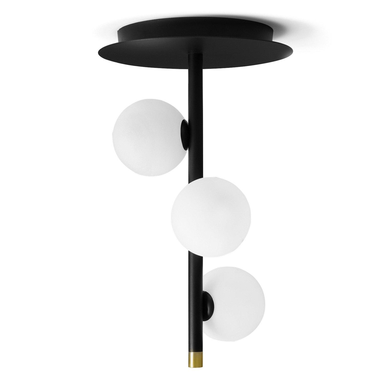 Taklampe Pomì, tre lyskilder med glasskuler
