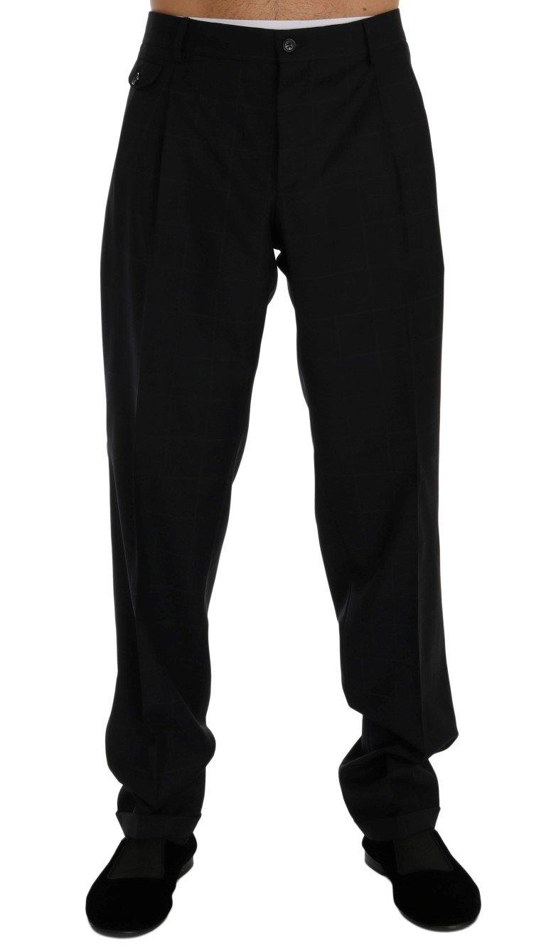 Dolce & Gabbana Men's Check Wool Stretch Trouser Blue PAN60365 - IT52 | XL