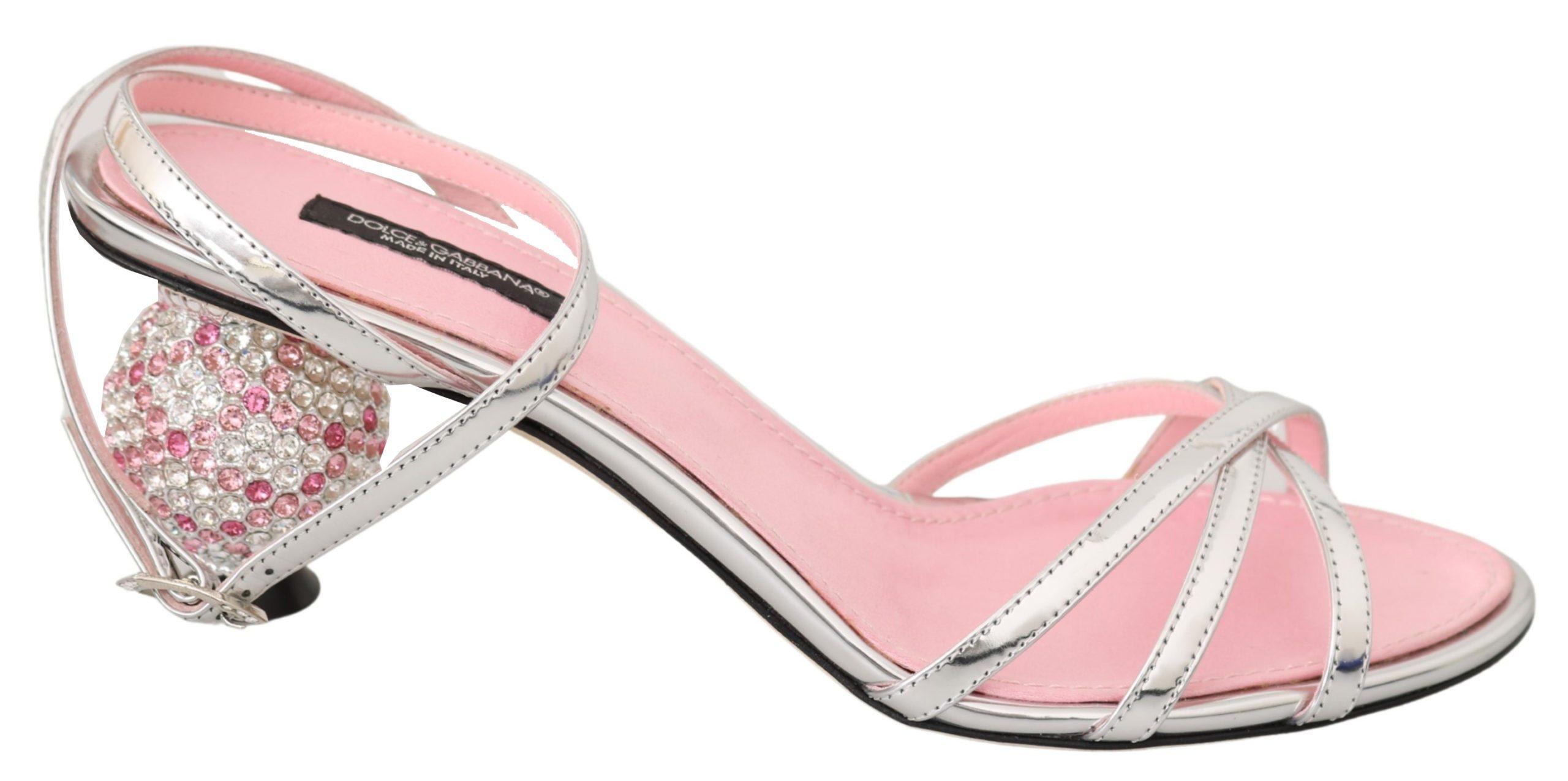 Dolce & Gabbana Women's Crystal Ankle Strap Sandal Pink LA7122 - EU36/US5.5