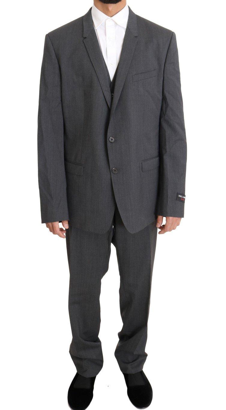 Dolce & Gabbana Men's Wool Stretch Slim Fit GOLD Suit Gray KOS1094 - IT58   3XL