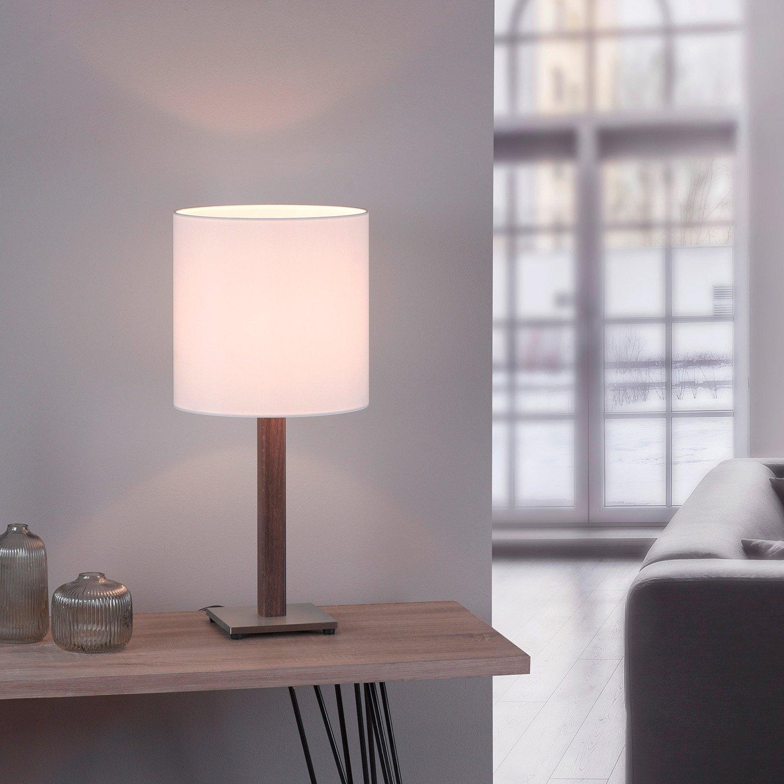 Lucande Elif bordlampe hvit, kantet mørk eik