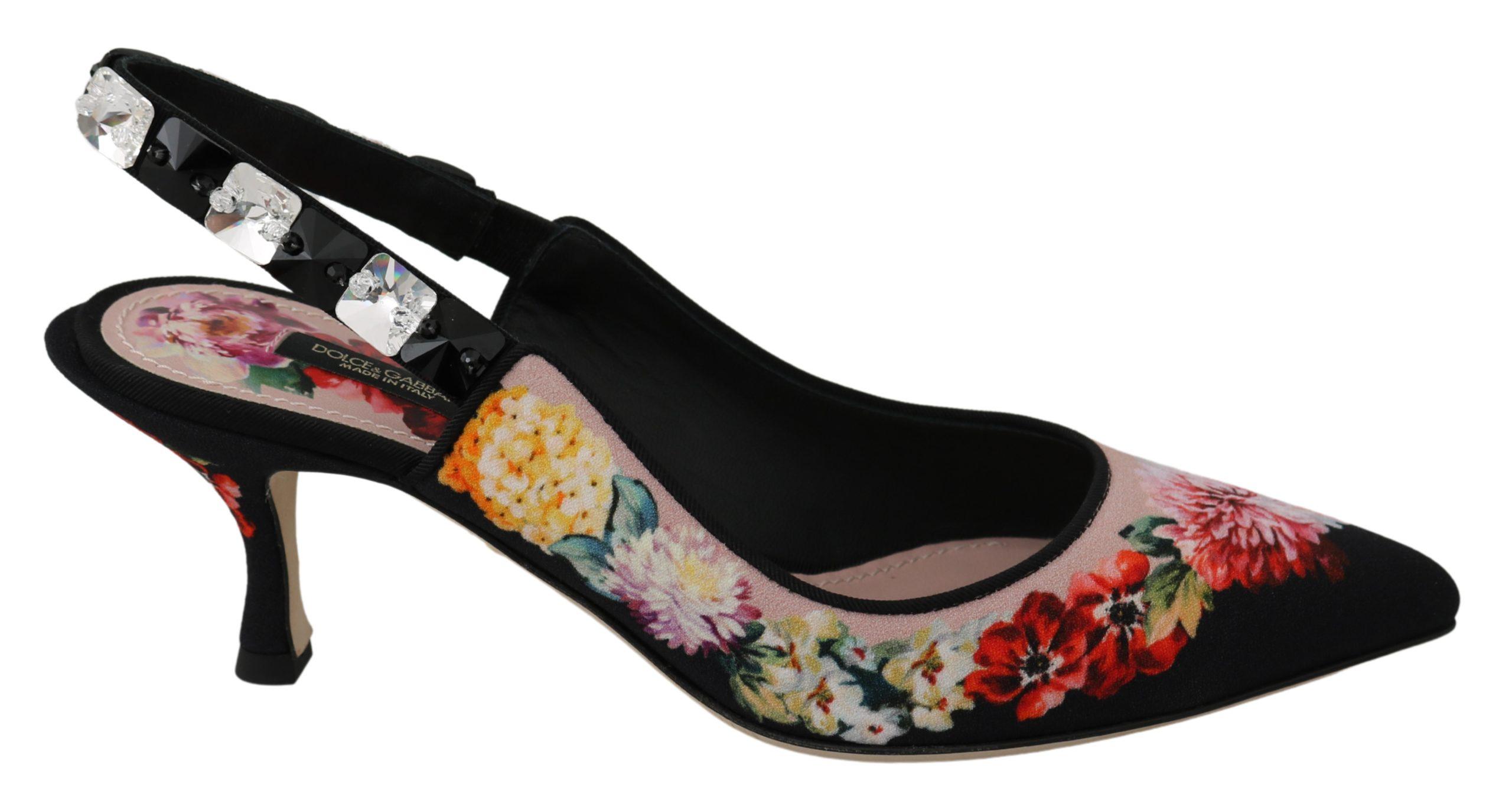 Dolce & Gabbana Women's Floral Crystal Heels Shoes Black LA6582 - EU35/US4.5