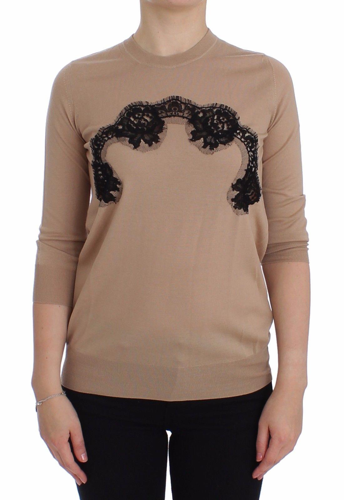 Dolce & Gabbana Women's Wool Lace Pullover Sweater Beige SIG13246 - IT36 | XS