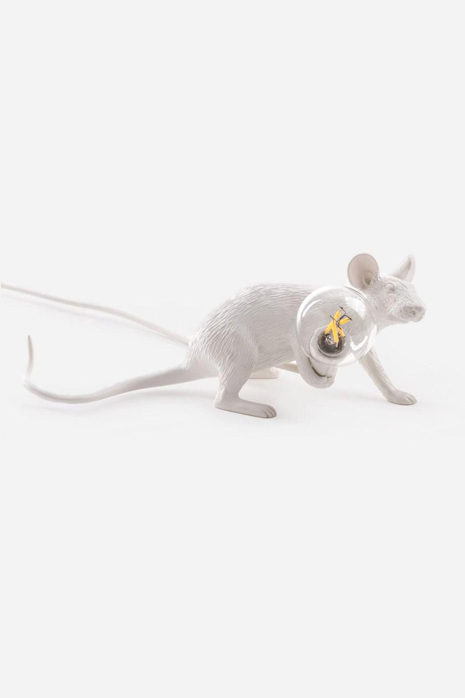 Bordslampa mus liggande vit