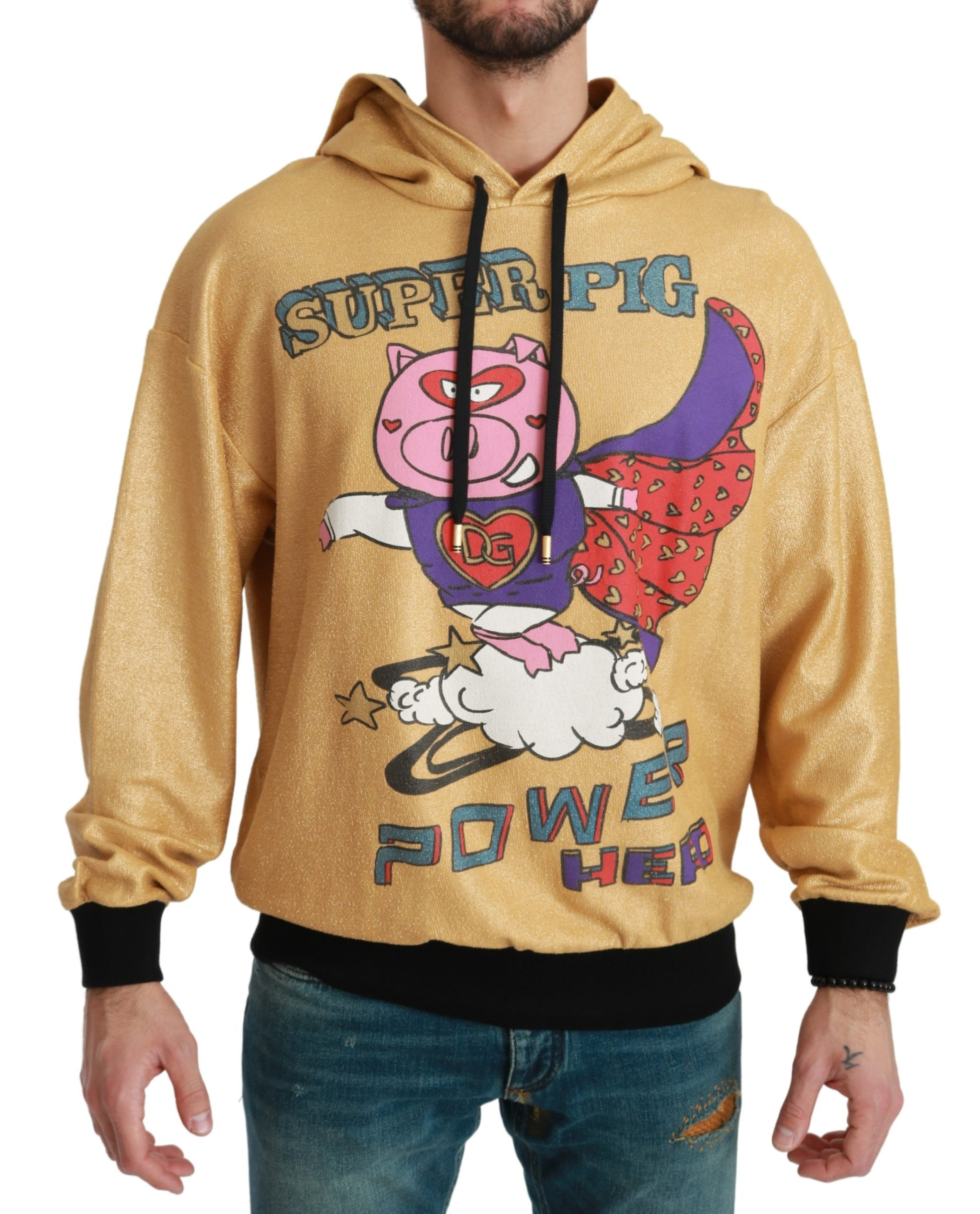 Dolce & Gabbana Men's Pig of the Year Hooded Sweater Gold TSH4614 - IT44   XS