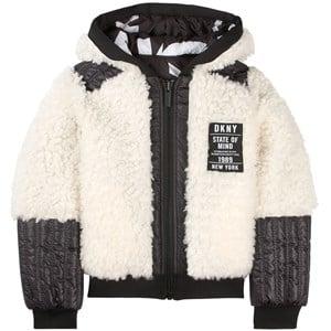 DKNY Logo Faux Fur Jacka Vit 4 år