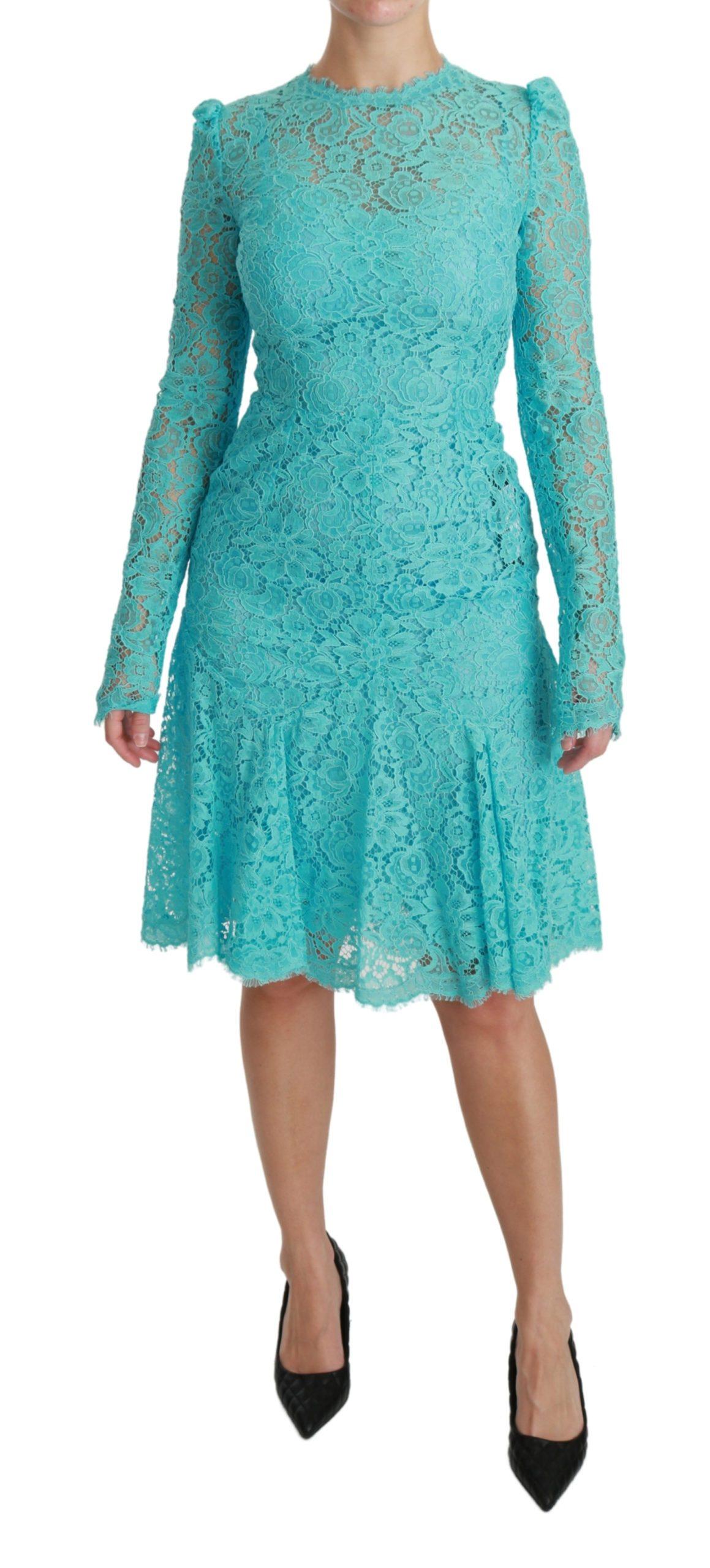 Dolce & Gabbana Women's Lace Knee Sheath Cotton Dress Light Blue DR2518 - IT40 S