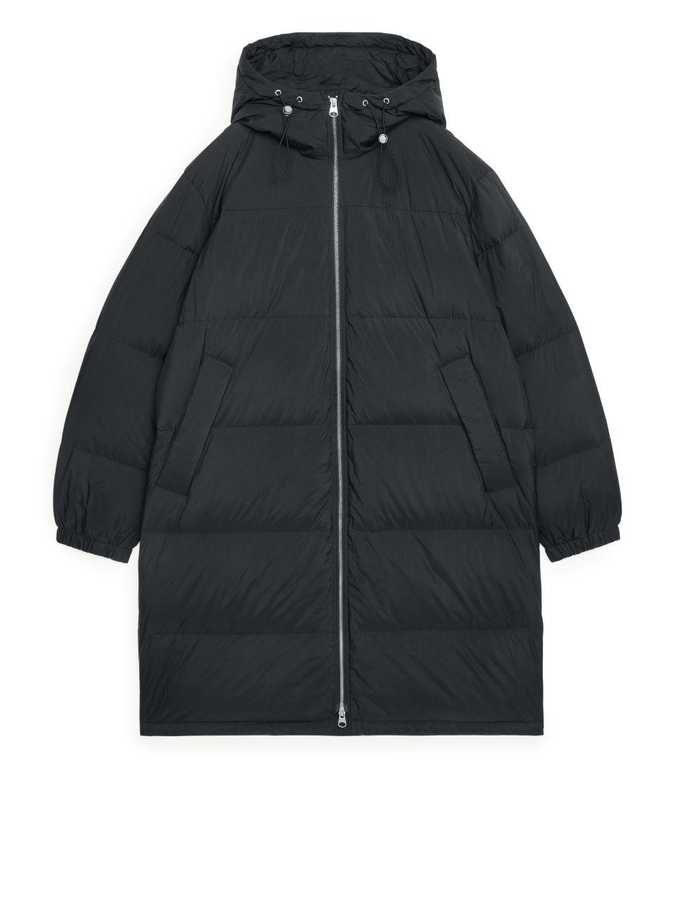 Short Down Puffer Coat - Black