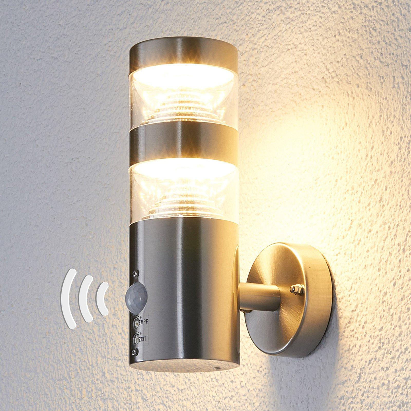 LED-utendørs vegglampe Lanea rett sensor