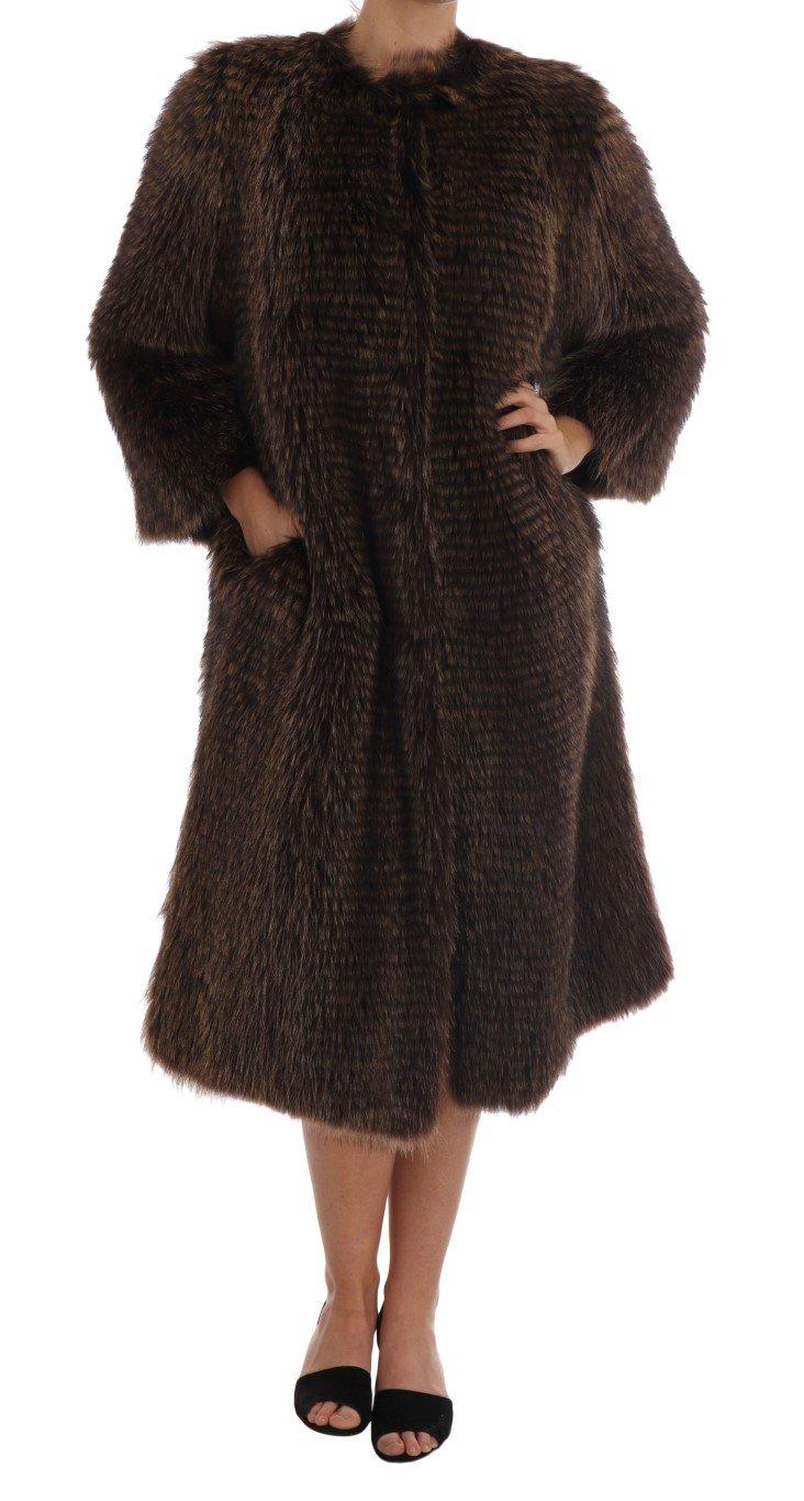 Dolce & Gabbana Women's Raccoon Fur Coat Jacket Brown JKT1125 - IT40 S