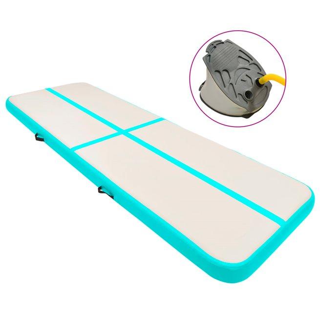 vidaXL Uppblåsbar gymnastikmatta med pump 400x100x20 cm PVC grön