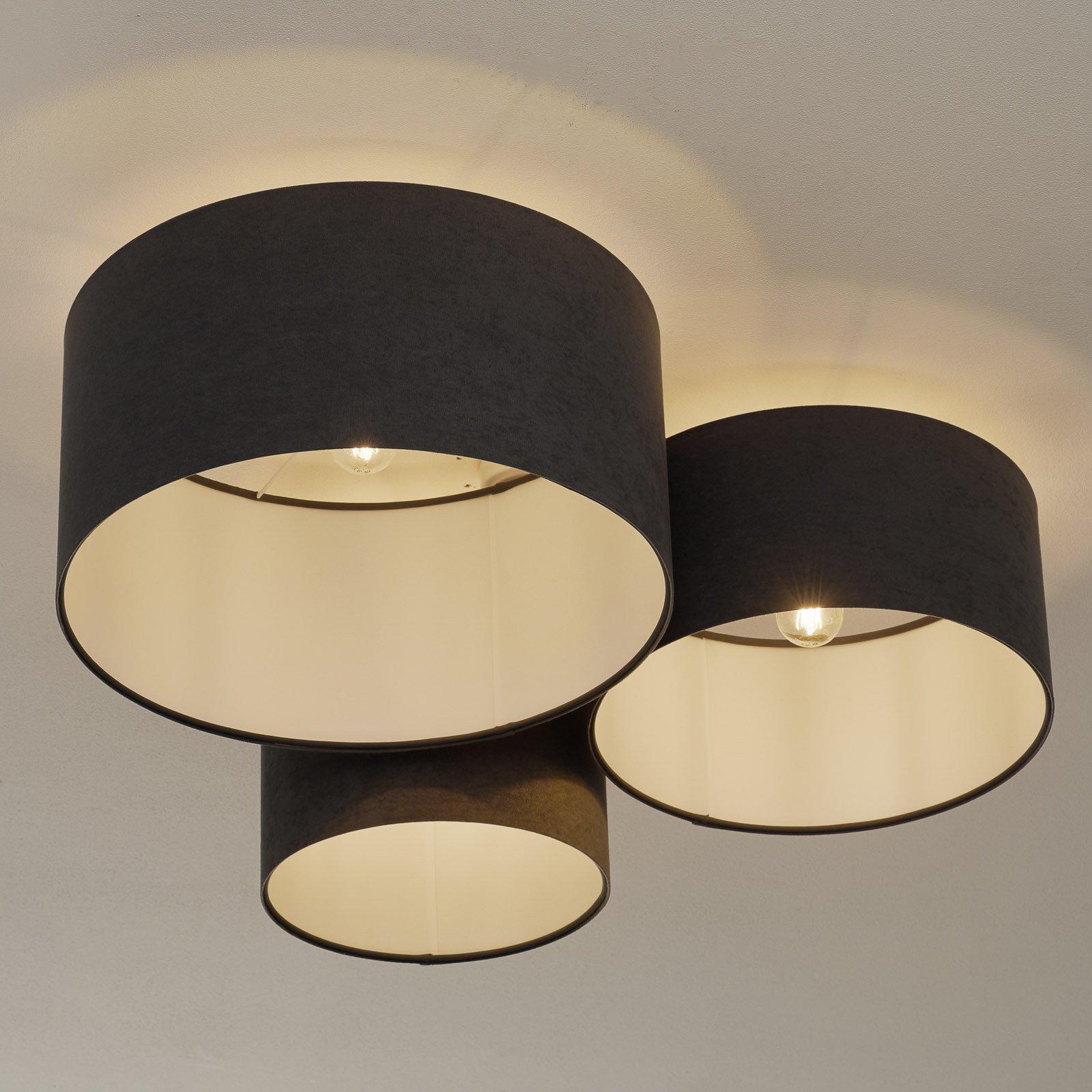 Taklampe 080, tre lyskilder, mørkegrå-hvit