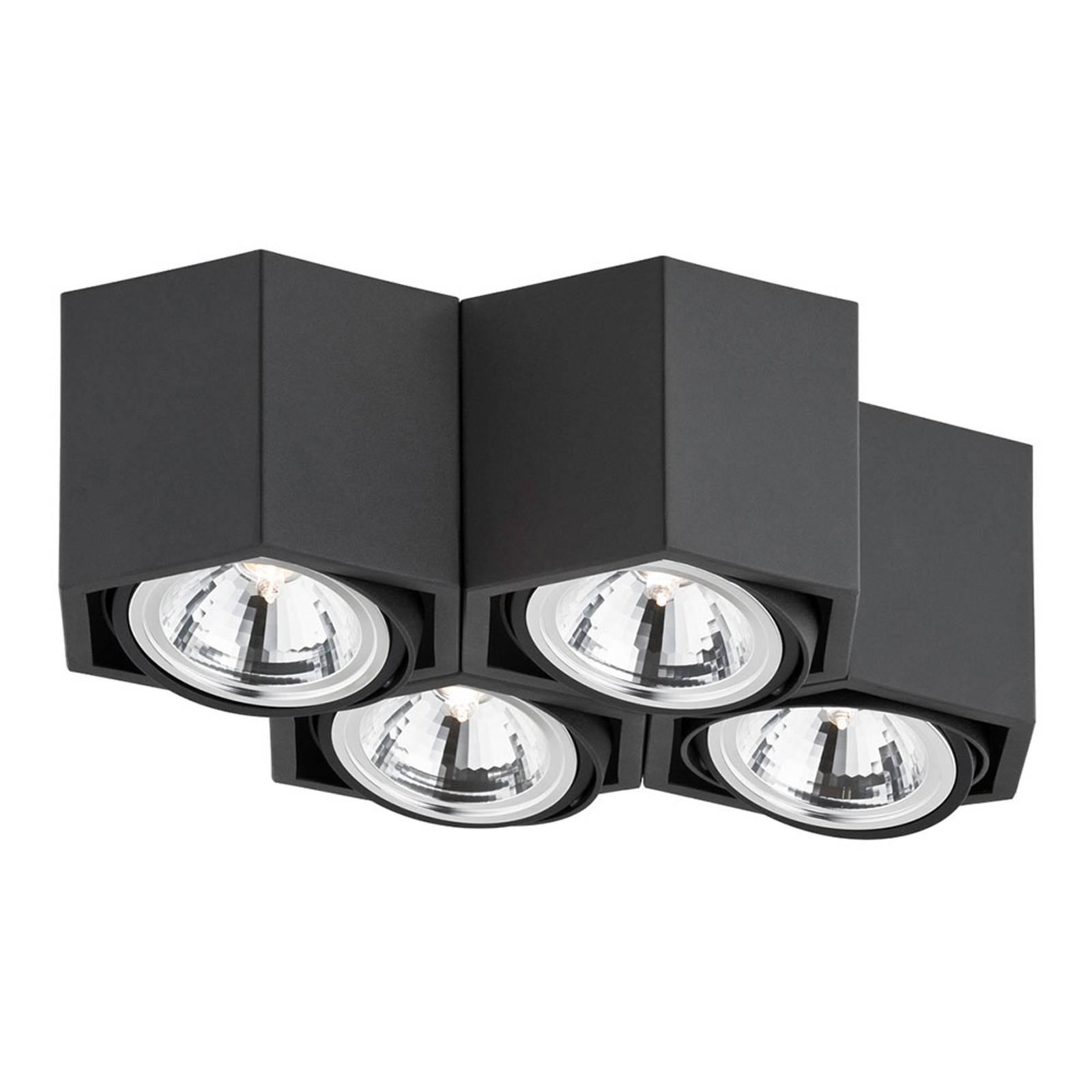 Kattovalaisin Elvas, kääntyvä, 4-lamppuinen, musta