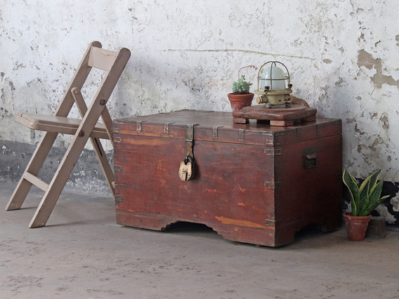 Antique Wooden Trunk Large