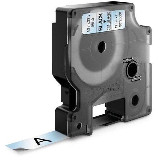 DYMO Standard D1 Teippi 12mm Musta teksti, läpinäkyvä pohja