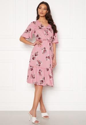 Happy Holly Eliza flounce dress Pink / Patterned 44/46