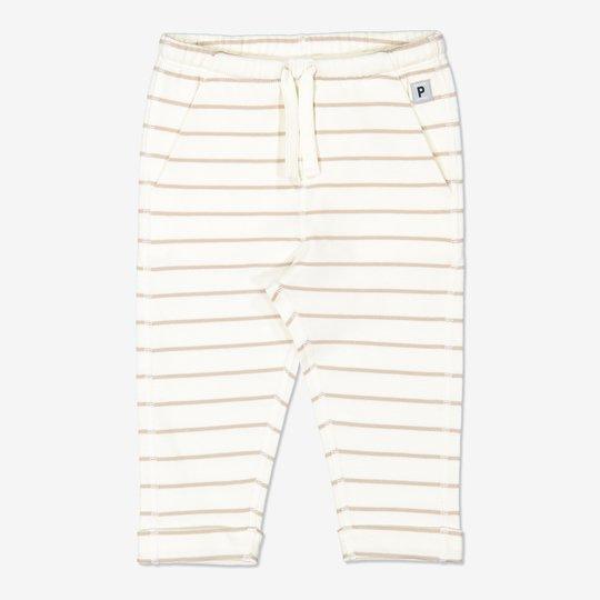 Stripet bukse med knytebånd, baby hvit