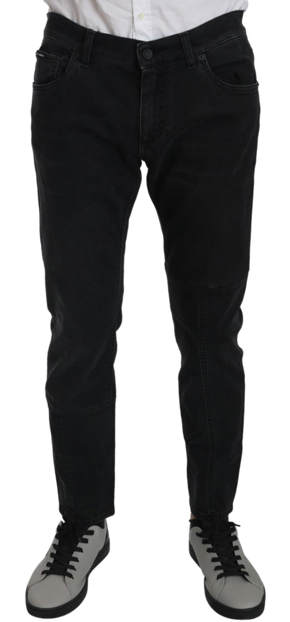 Dolce & Gabbana Men's Cotton Stretch Skinny Slim Fit Jeans Black PAN70882 - IT50   L