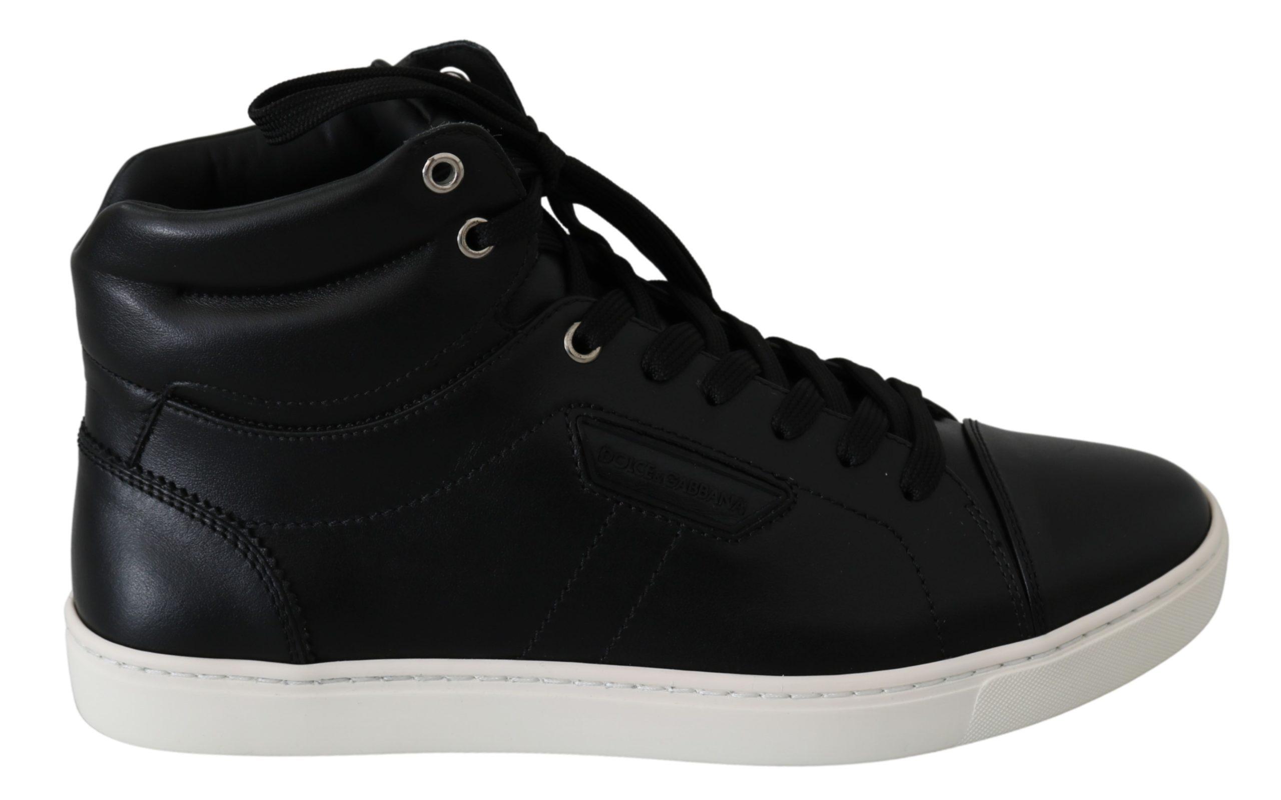 Dolce & Gabbana Men's Leather High-Top Trainer Black MV2652 - EU40/US7