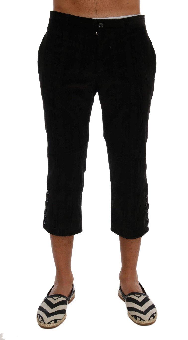 Dolce & Gabbana Men's Cotton Striped Cropped Trouser Black - IT52   L