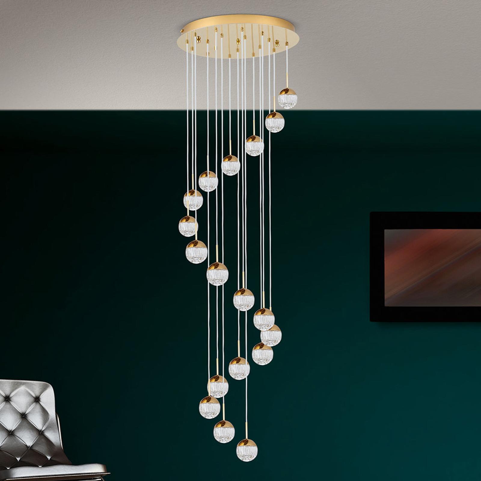 LED-riippuvalaisin Ball 18-lamppuinen, kulta/kerma