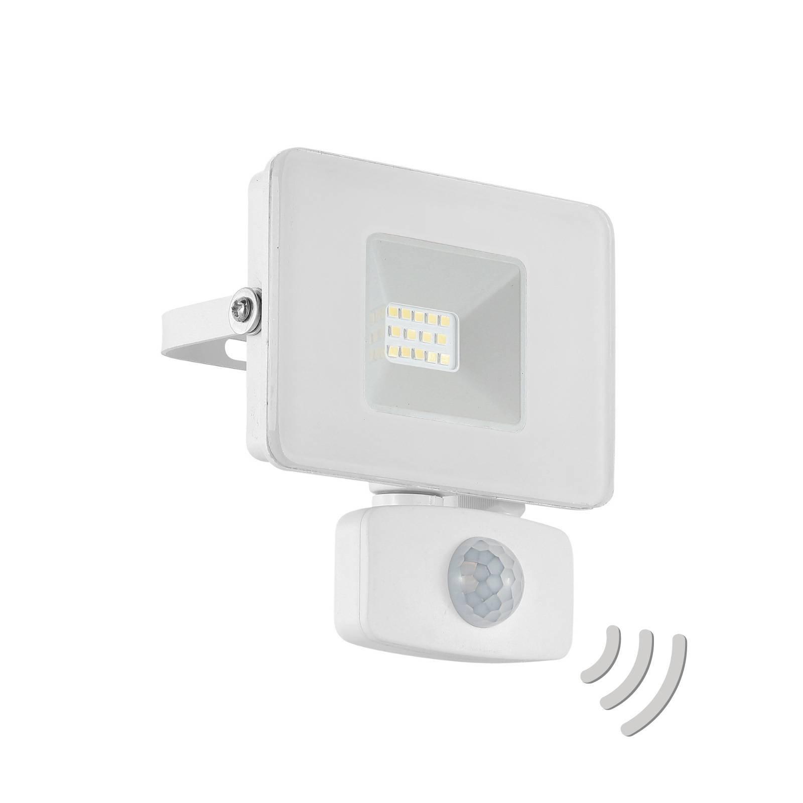 Utendørs LED-spot Faedo 3 med sensor, hvit, 10 W