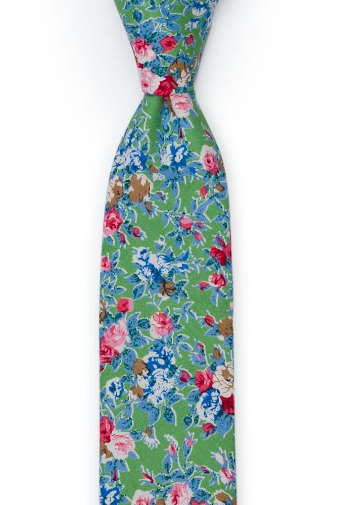 Bomull Smale Slips, Rosa, blå og hvite blomster på eplegrønt, Grønn, Blomster