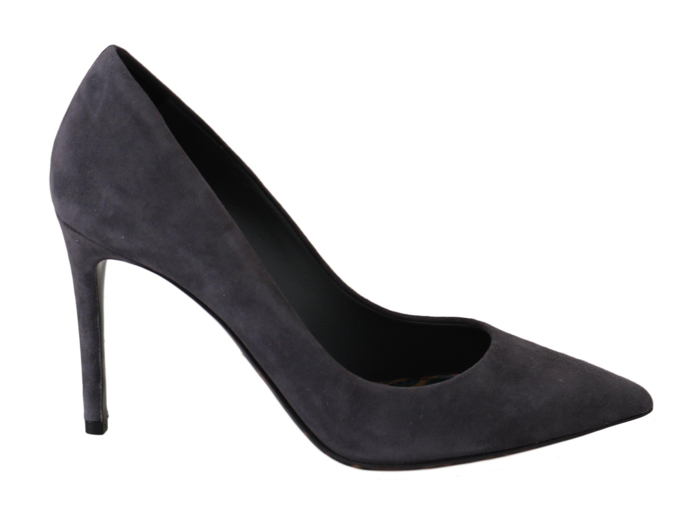Dolce & Gabbana Women's Suede Leather Stiletto Heels Gray LA5980 - EU35/US4.5
