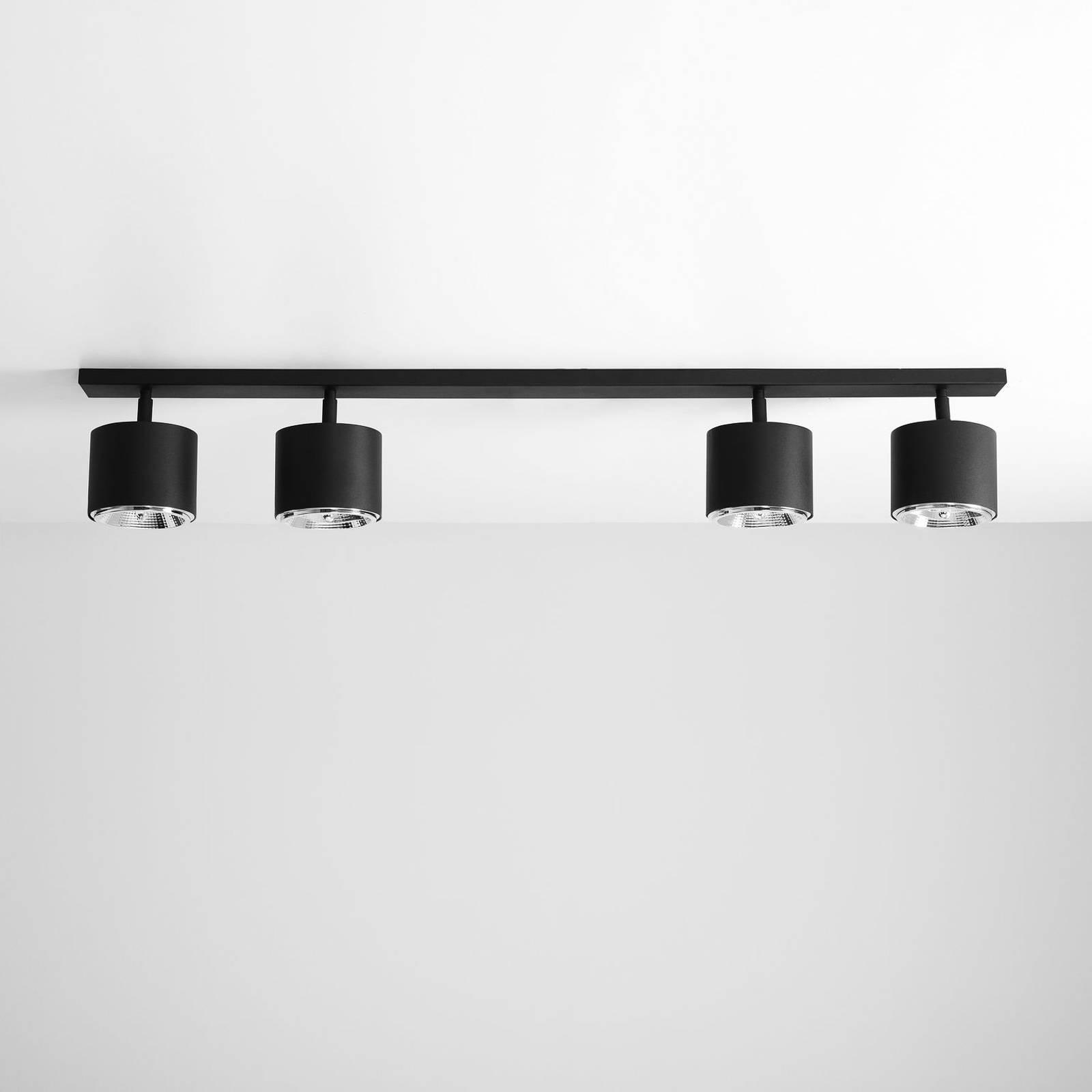 Kattospotti Bot, musta, 4-lamppuinen