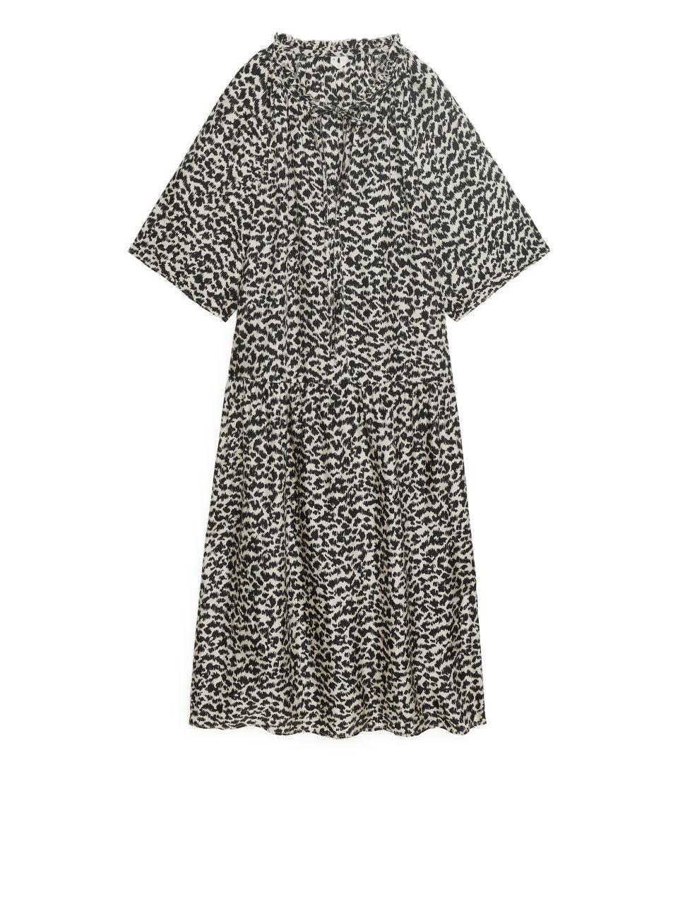 Printed A-Line Dress - Beige