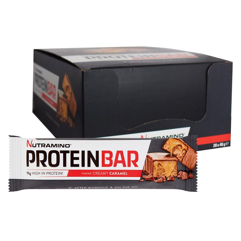 "Hel Låda Proteinbars ""Creamy Caramel"" 20 x 46g - 78% rabatt"