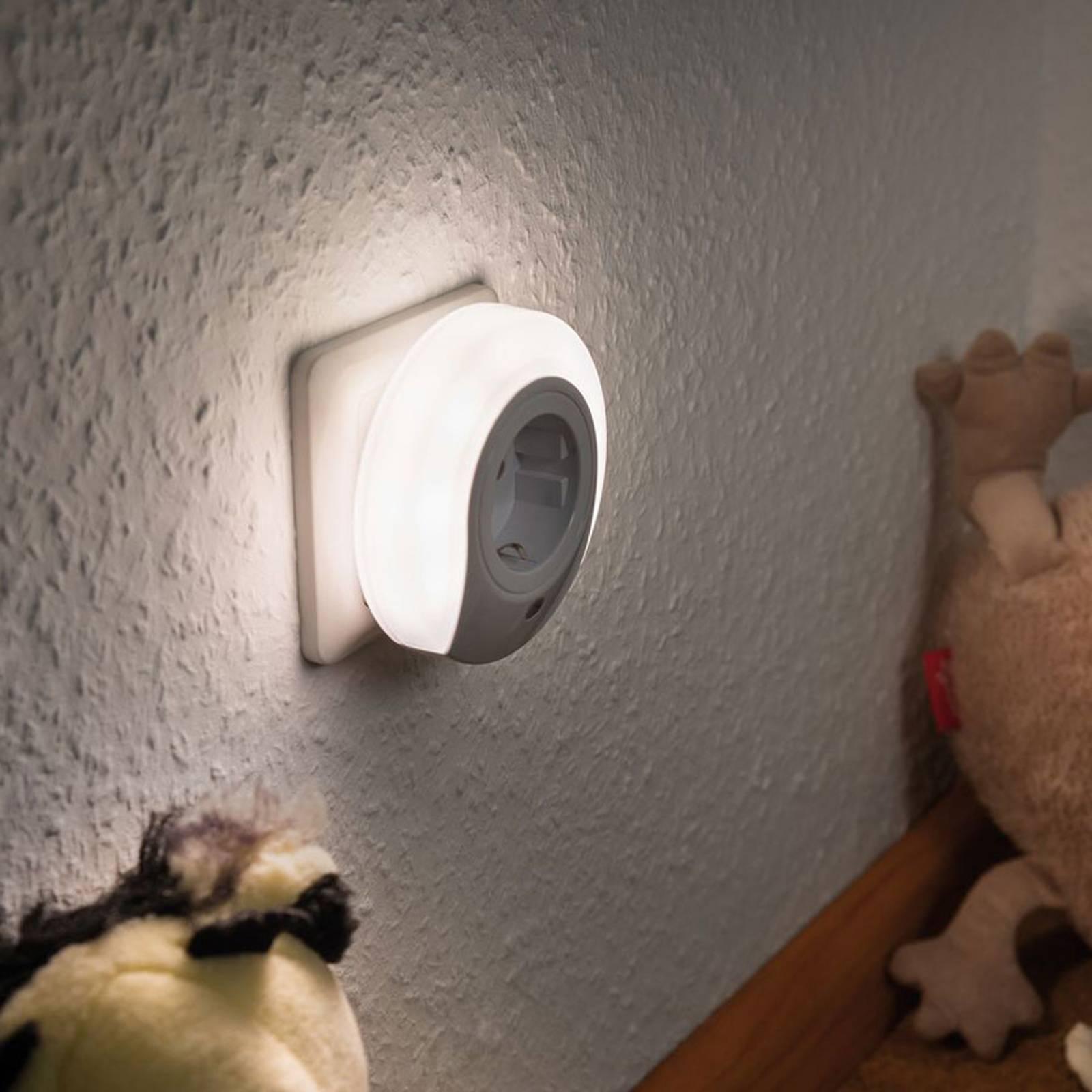Paulmann Esby -LED-yövalo, pistorasia, pyöreä