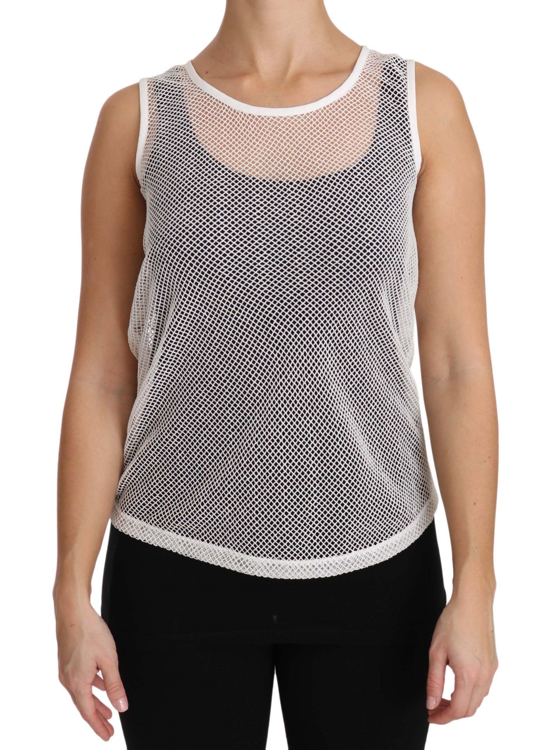Dolce & Gabbana Women's Net Transparent Tops White TSH2963 - IT36   XS