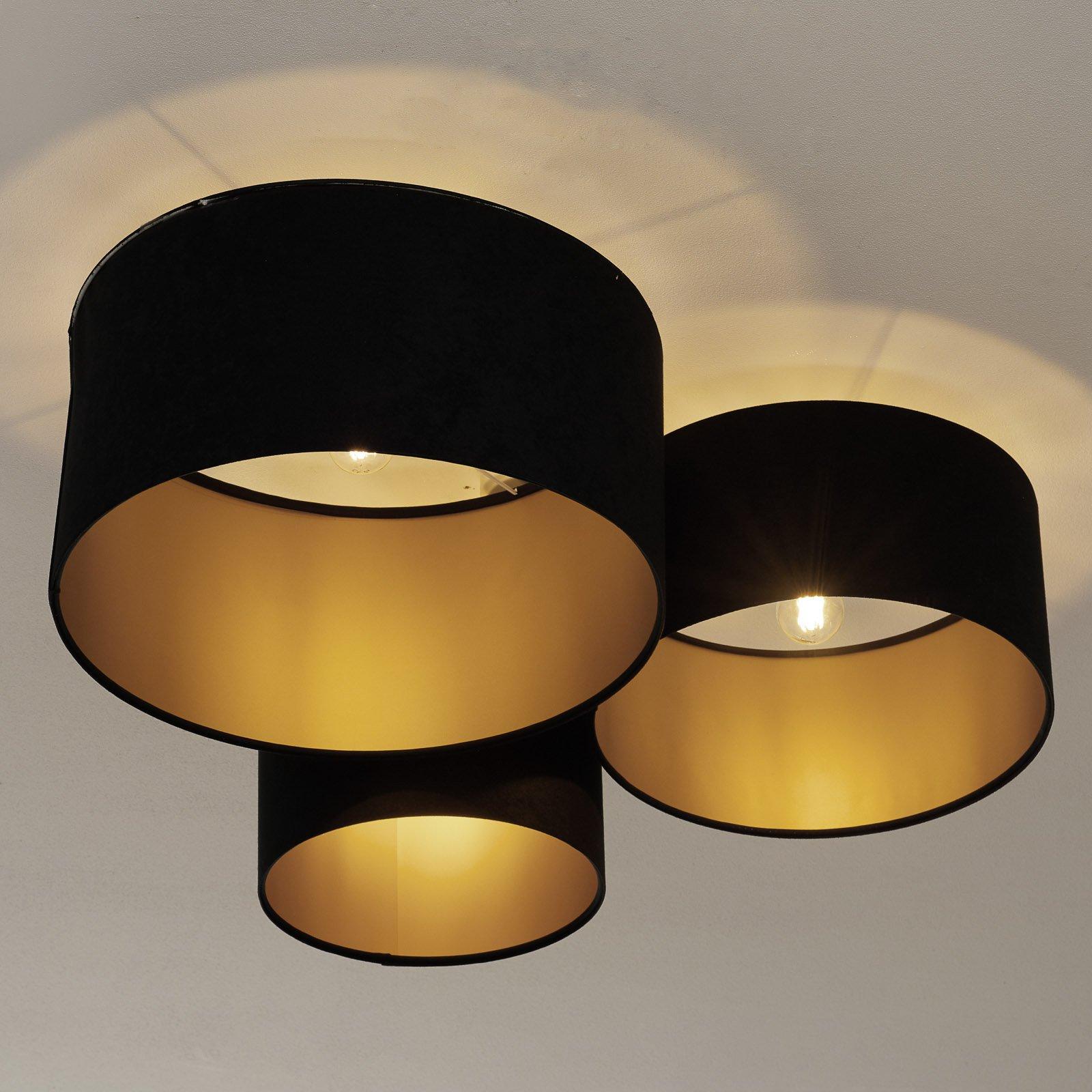 Taklampe 080, tre lyskilder, svart-gull