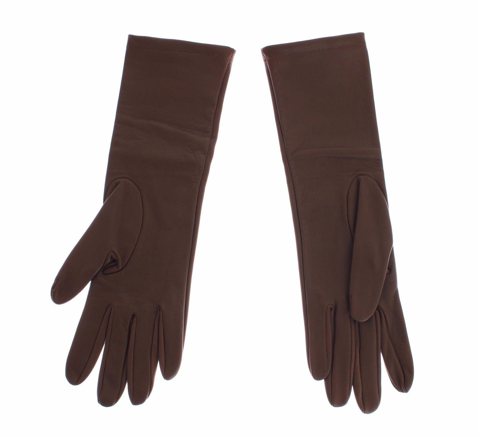 Dolce & Gabbana Women's Leather Wrist Slim Gloves Brown SIG13112 - S