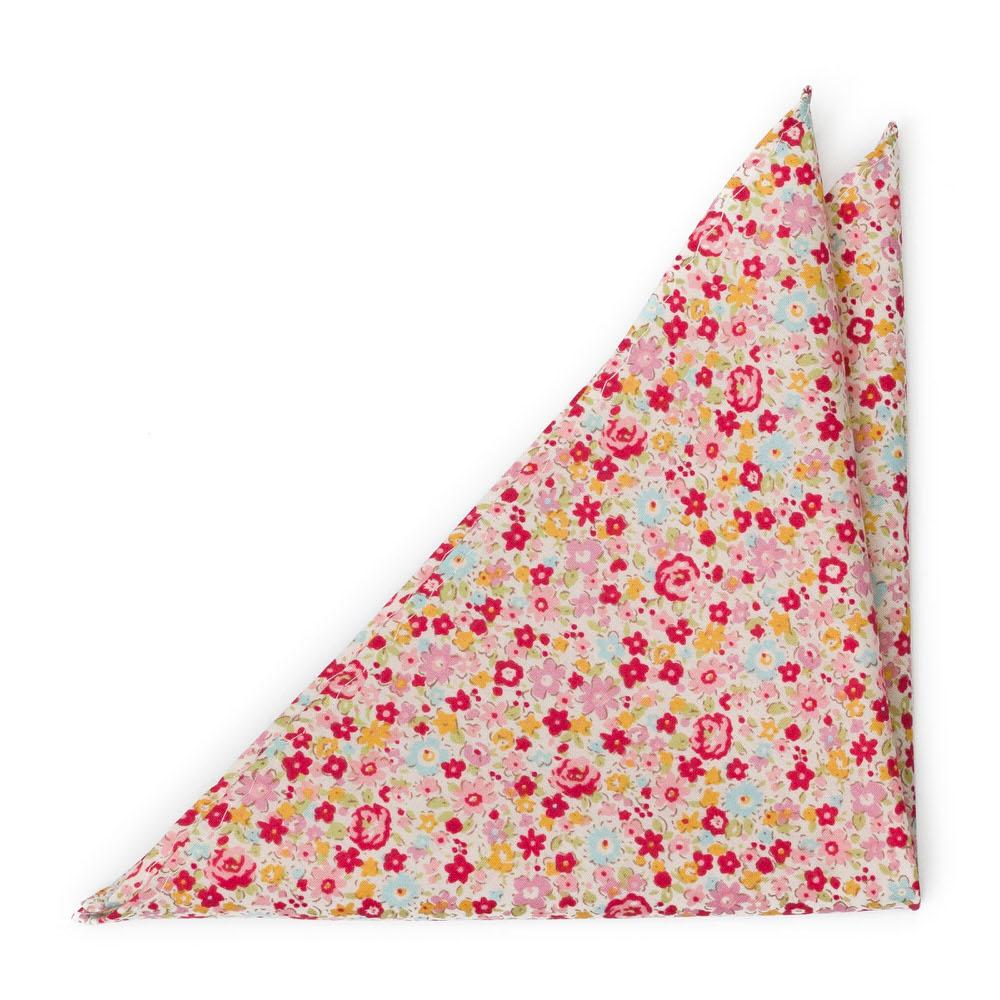 Bomull Lommetørkler, Rød, rosa, gule & lys turkis blomster, Rosa, Blomster